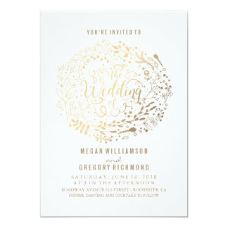 Gold Floral Bouquet Elegant Modern Wedding Card