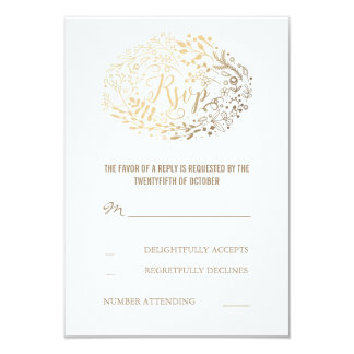 Gold Floral Bouquet Wedding RSVP Cards
