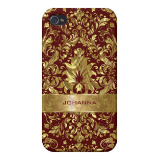 Gold Floral Damasks Over Dark Red Background iPhone 4/4S Cases