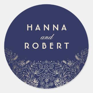 Gold Floral Elegant and Vintage Navy Wedding Round Sticker