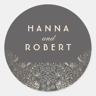 Gold Floral Elegant and Vintage Wedding Round Sticker