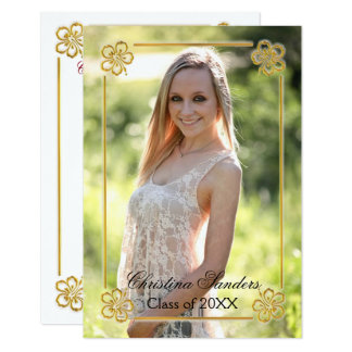 Gold Floral Framed Photo - 3x5 Grad Announcement