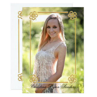 Gold Floral Framed Photo - Grad Announcement
