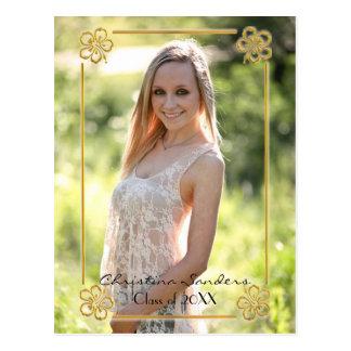 Gold Floral Framed Photo - Graduation Post Card