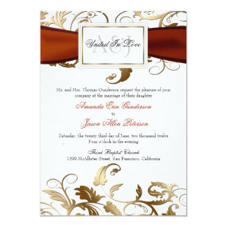 Gold Floral Invite with Orange Bow