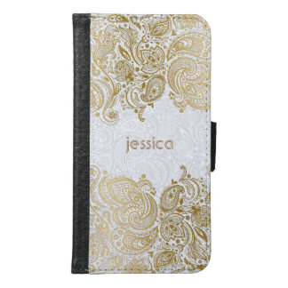 Gold Floral Lace Over White Plush Damasks Samsung Galaxy S6 Wallet Case