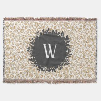 Gold Floral Pattern with Dark Gray Circle Monogram Throw Blanket
