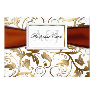 Gold Floral RSVP with Orange Bow Announcement