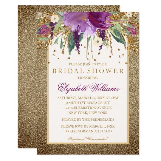 Gold Floral Sparkling Amethyst Bridal Shower Card