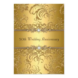 Gold Floral Swirl 50th Wedding Anniversary Invite