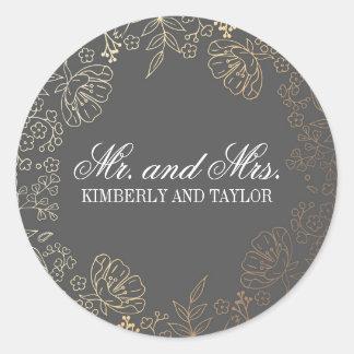 Gold Floral Vintage Grey Wedding Monogram Round Sticker