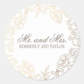 Gold Floral White Vintage Wedding Monogram Round Sticker