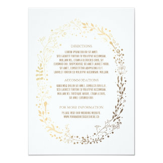 Gold Floral Wreath Elegant Bouquet Wedding Details Card