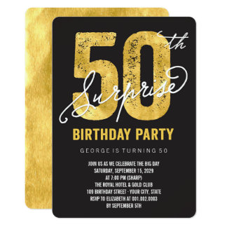Gold Foil 50th Surprise Birthday Party Invite