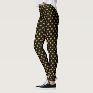Gold Foil and Black Festive Leggings