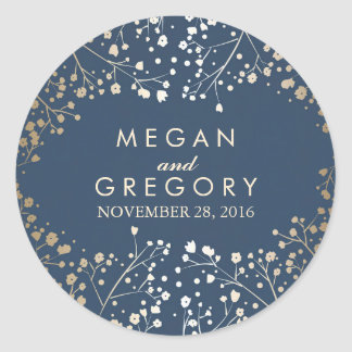 Gold Foil Baby's Breath Navy Wedding Round Sticker