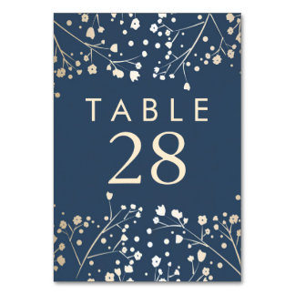 Gold Foil Baby's Breath Navy Wedding Table Numbers