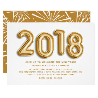 Gold Foil Balloons New Year's Eve Party Invitation