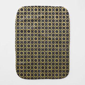 Gold Foil Black Polka Dots Pattern Baby Burp Cloths