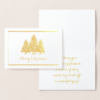 Gold Foil Christmas Trees Merry Christmas Card
