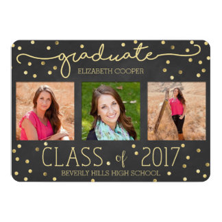 Gold Foil Confetti Chalk Graduation Announcement