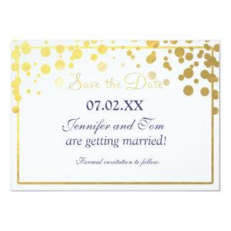 Gold Foil Confetti Dots Invitation Save date Card