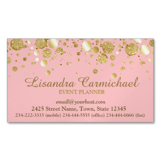 Gold Foil Confetti On Pink Magnetic Business Card Magnetic Business Cards