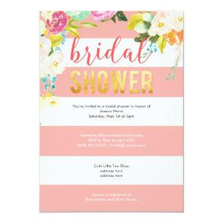 Gold Foil Coral Floral Bridal Shower Card