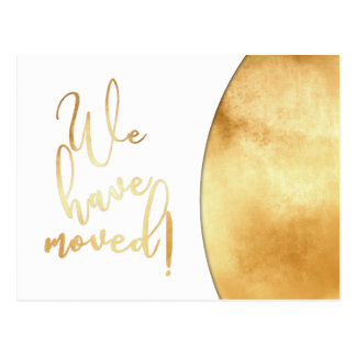 """Gold Foil Effect, """"We've Moved"""" Announcements Postcard"""