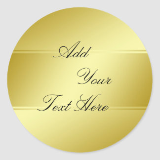 Gold Foil Faux Glitter Customize Classic Classic Round Sticker