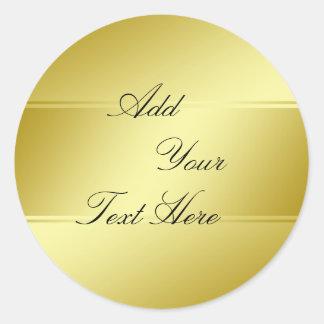 Gold Foil Faux Glitter Customize Classic Round Sticker