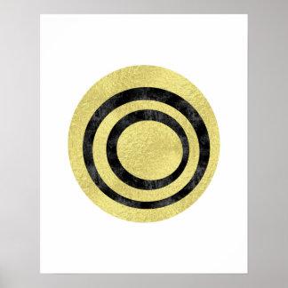 Gold foil geometric art Circle art Modern art Poster