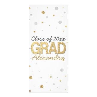Gold Foil Glitter Confetti Graduation Party Custom Custom Rack Card