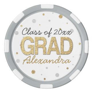Gold Foil Glitter Confetti Graduation Party Custom Poker Chips