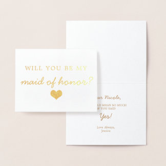 Gold Foil Heart Will You Be My Maid Of Honour Card