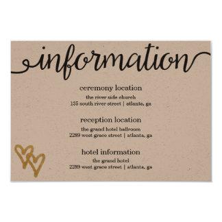 Gold Foil Hearts Kraft Paper Information Card
