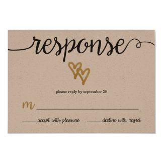 Gold Foil Hearts Kraft Paper Wedding RSVP Card