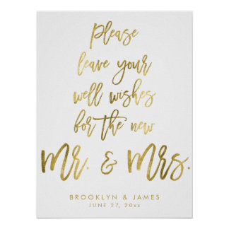 Gold Foil Leave Your Well Wishes Wedding Sign