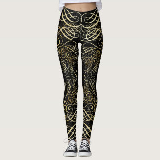 Gold Foil Look Scrollwork Script on Black Elegant Leggings