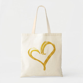 Gold Foil Love Heart Modern Wedding Tote