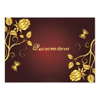 Gold, Foil on Burgundy, Quinceanera Invitation