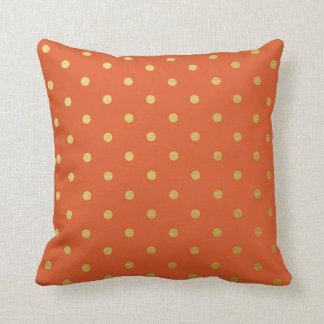 Gold Foil Polka Dots Modern Burnt Orange Metallic Throw Pillows