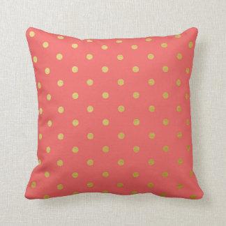 Gold Foil Polka Dots Modern Coral Pink Cushion