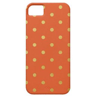 Gold Foil Polka Dots Modern Orange Metallic iPhone 5 Case