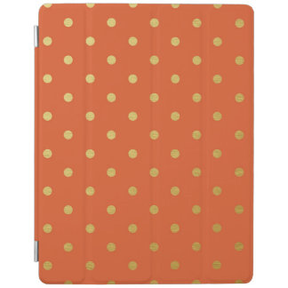Gold Foil Polka Dots Modern Orange Metallic iPad Cover