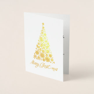 Gold Foil Retro Christmas Tree Greeting Card