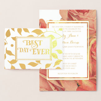 Gold Foil Rose Typography Wedding Invitations