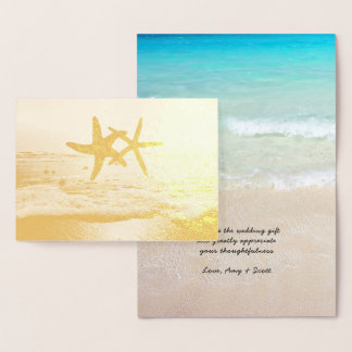 Gold Foil Starfish Beach Wedding Thank You Notes Foil Card