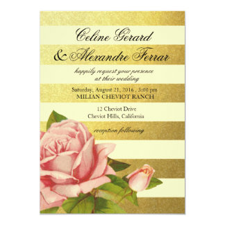 Gold Foil Striped Vintage Floral | gold ivory 13 Cm X 18 Cm Invitation Card