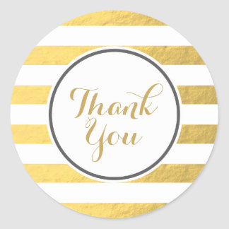 Gold Foil Stripes Thank You Sticker